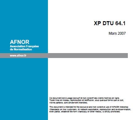 Etude Assainissement NOUVEAU DTU 64-1.La dernière version datait de Mars 2007