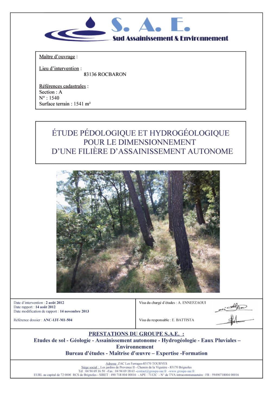 Rapport anc 01 etude de sol groupe sae - Bureau d etude environnement rhone alpes ...
